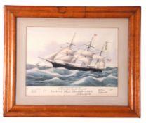 "Coloured print ""The Clipper Ship Dreadnought"", set in birds eye maple frame"