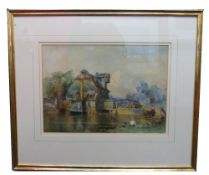 Unsigned Watercolour, titled verso Houghton Mill Sketch, 24 x 33cm