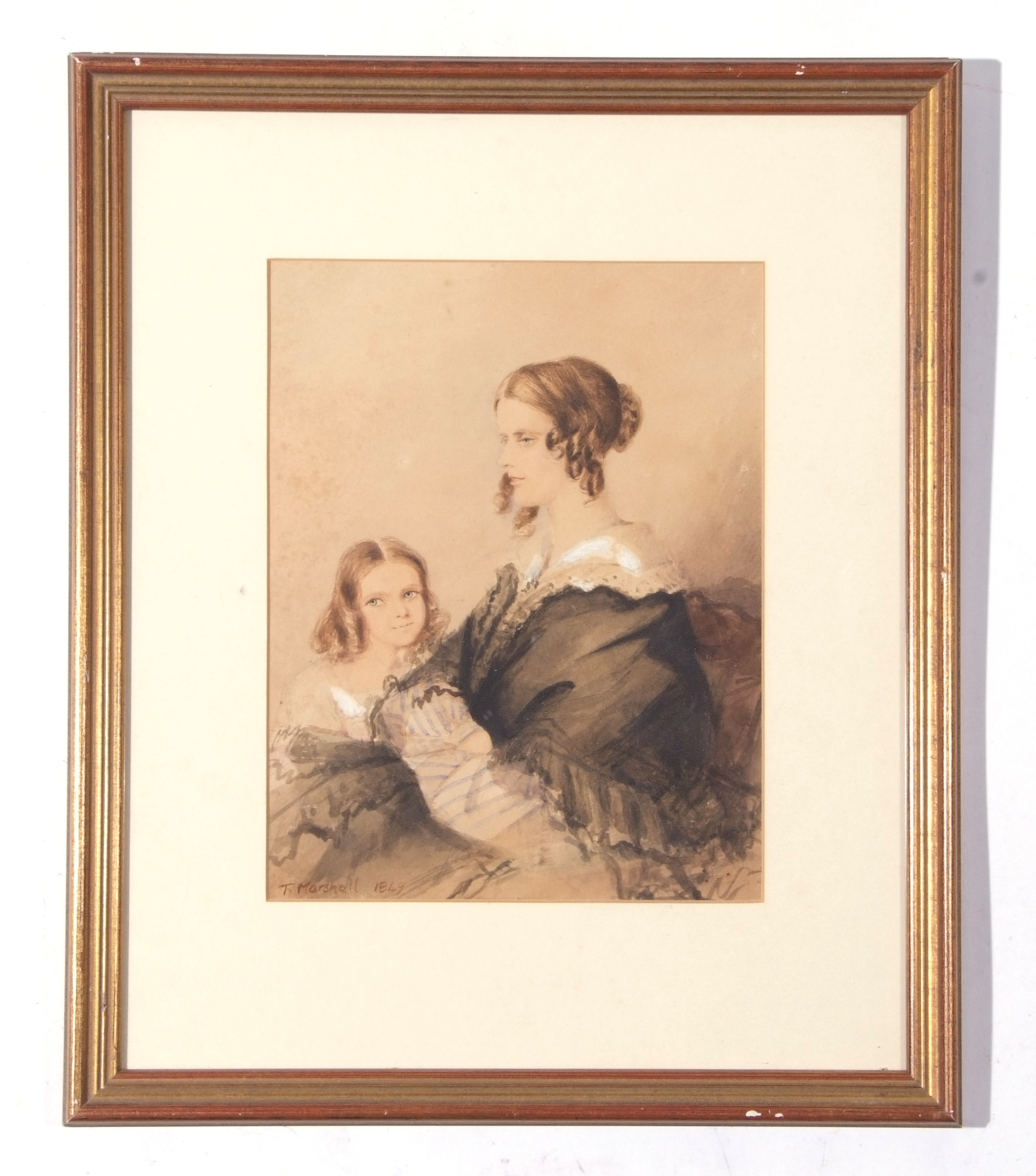 T Marshall, watercolour, signed, Portrait of Agnes, wife of Rev D B Bevan (reverse) with eldest