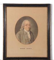 Circa 19th century Print, portrait of Benjamin Franklin, oval approx 24 x 20cm