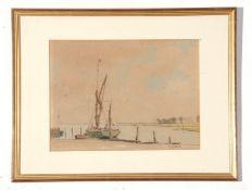 Martin Hardie, watercolour, Barge, Lower Halstow, Kent, 28 x 37cm