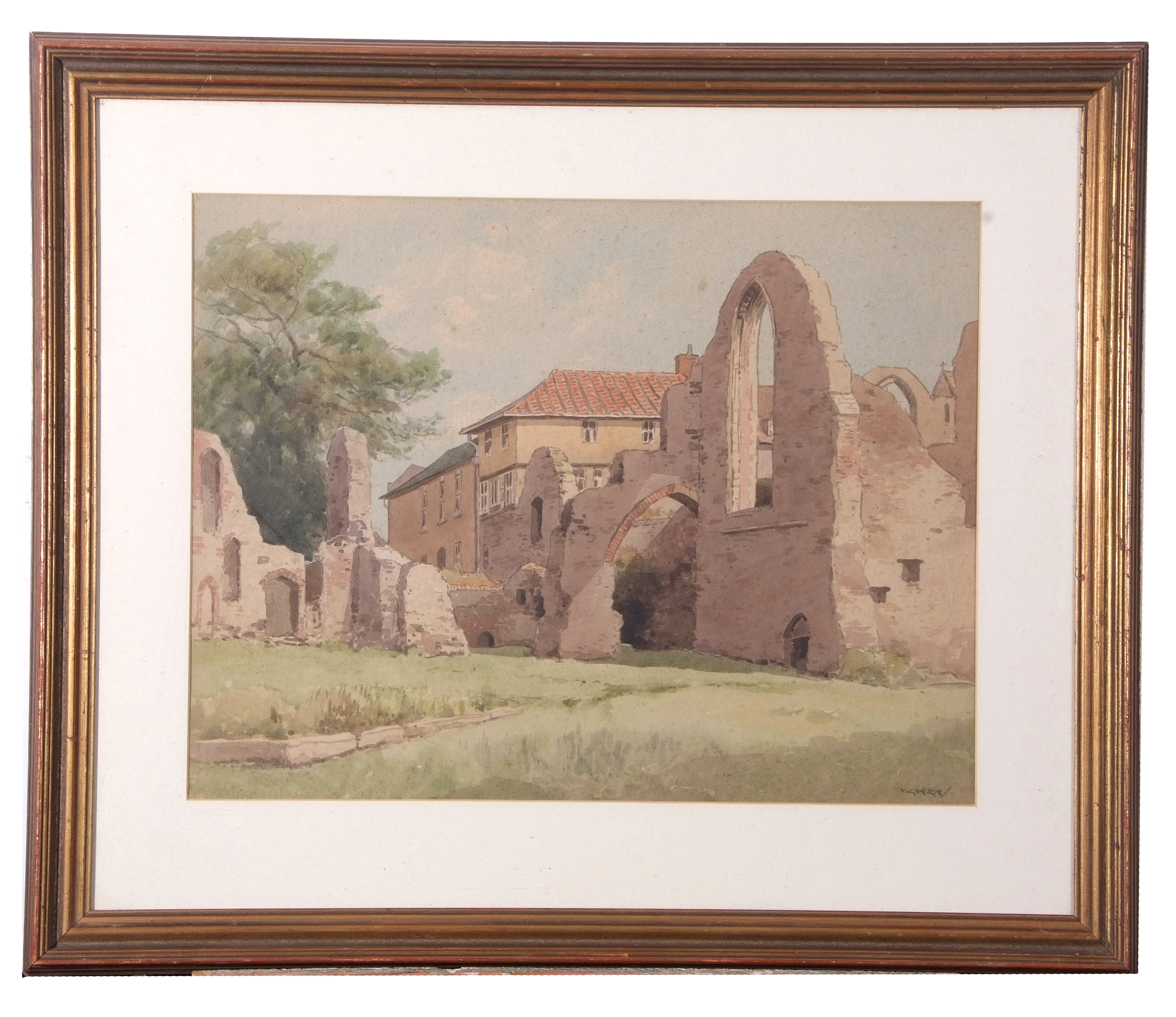 Vic Carter, watercolour, signed, Leiston Abbey, 36 x 48cm
