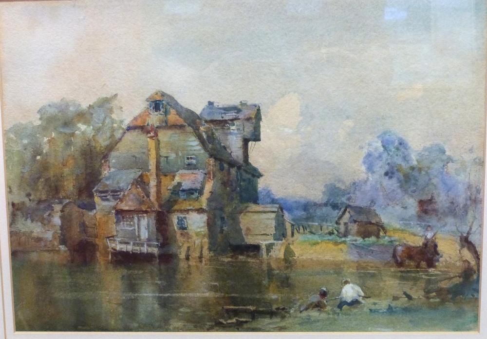 Unsigned Watercolour, titled verso Houghton Mill Sketch, 24 x 33cm - Image 2 of 2