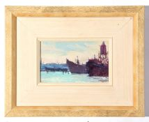 """John Shave, Oil on board, """"Down at the Harbour"""", artists label verso, 11.5cm x 19cm"""