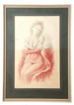 G Constantino (xx), signed and dated 1972 – rouge crayon drawing – nude lady seated, 50 x 31cm