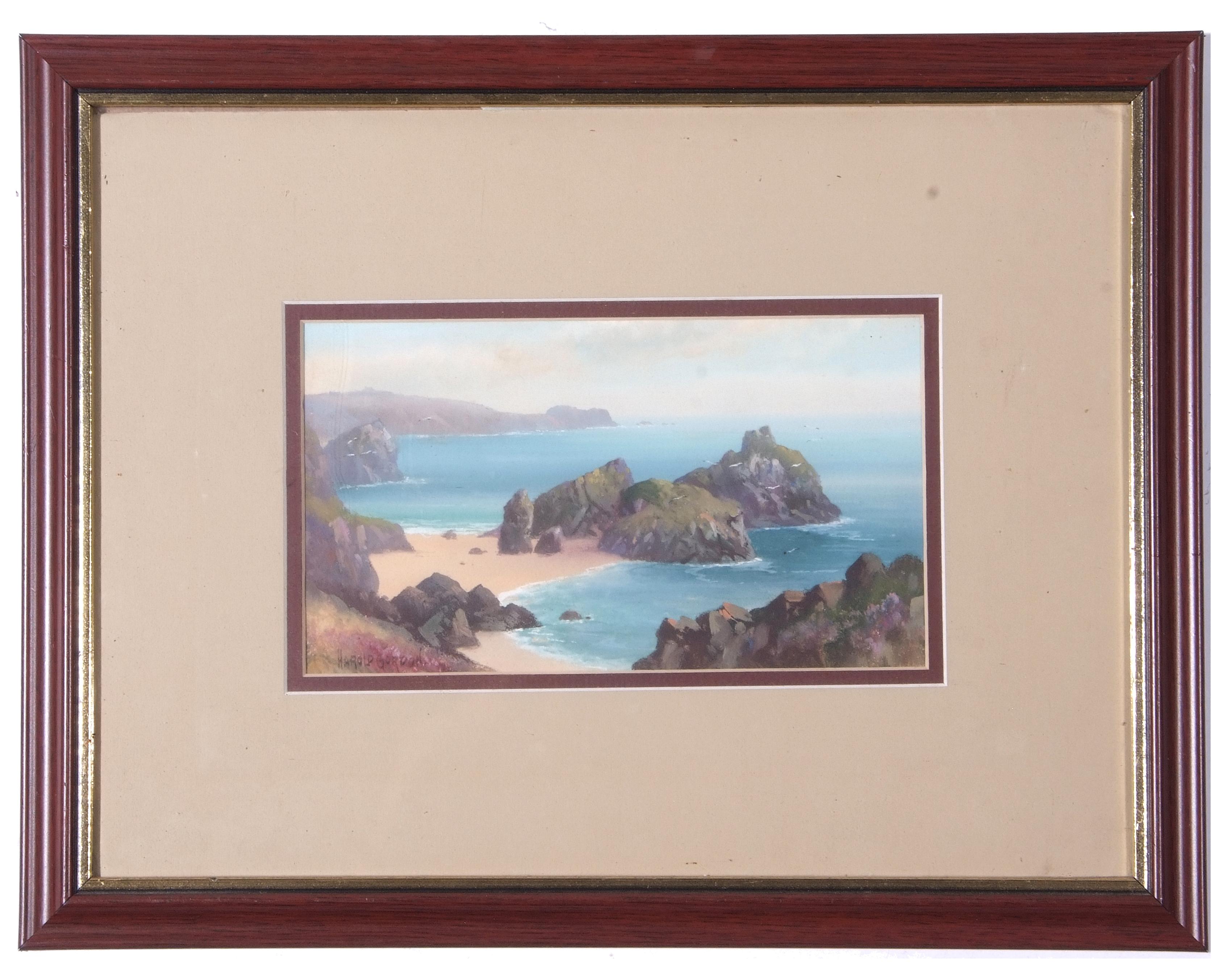 Harold Gordon, signed, Cornish coastal scene, 14 x 23cm