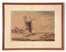 Leslie H Moore, watercolour, Drainage Mill, 37 x 54cm