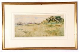 T Strethill Smith, watercolour, River Shipyard and warehouses in landscape, 1897, 24 x 54cm