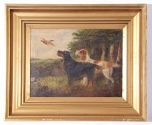 Manner of George Armfield (1808-1893), unsigned oil on canvas – two gundogs flushing a pheasant,