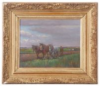 Geoffrey Mortimer, signed, Ploughing scene, 23 x 26cm