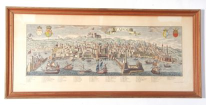 "Reproduction coloured print – ""Neapolis"" (Naples), 37 x 88cm"