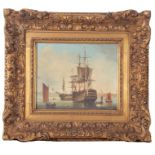 Brian Coole, signed, First Rate Man o' War, Portsmouth, 22 x 27cm