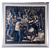 Contemporary Chinese School, large lino or woodblock print, figures reading a newspaper, signature