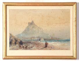 E Bowyer Sparkefield, Waterolour, St Michaels Mount, 18 x 27cm
