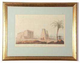 City of Bacchus and Temple of Dakke, Nubia, coloured aquatints (2), each 29 x 45cm