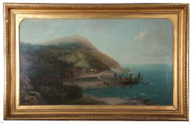Robert Allan, signed, extensive view of Lynmouth across Countisbury Hill, 60 x 106