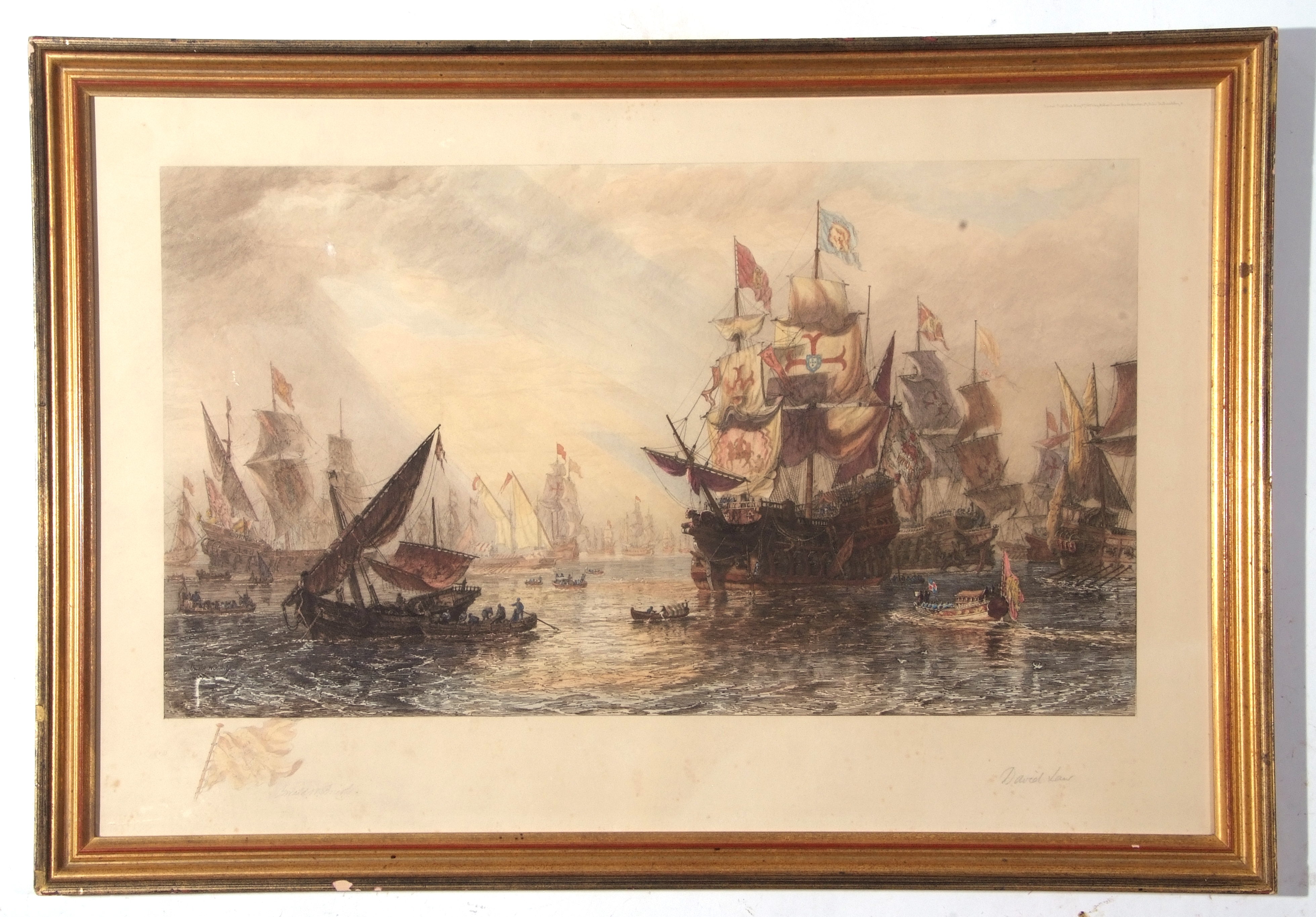 After Sir Oswald Walters Brierly, large coloured engraving, ships in harbour, bears both pencil
