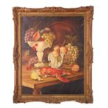 G J Pappas (xx), signed, oil on canvas – Still Life study, mixed fruit and lobster on a table, 75