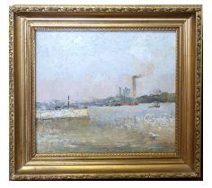 Modern British School, Oil on board, industrial Riverscape, 27 x 28cm