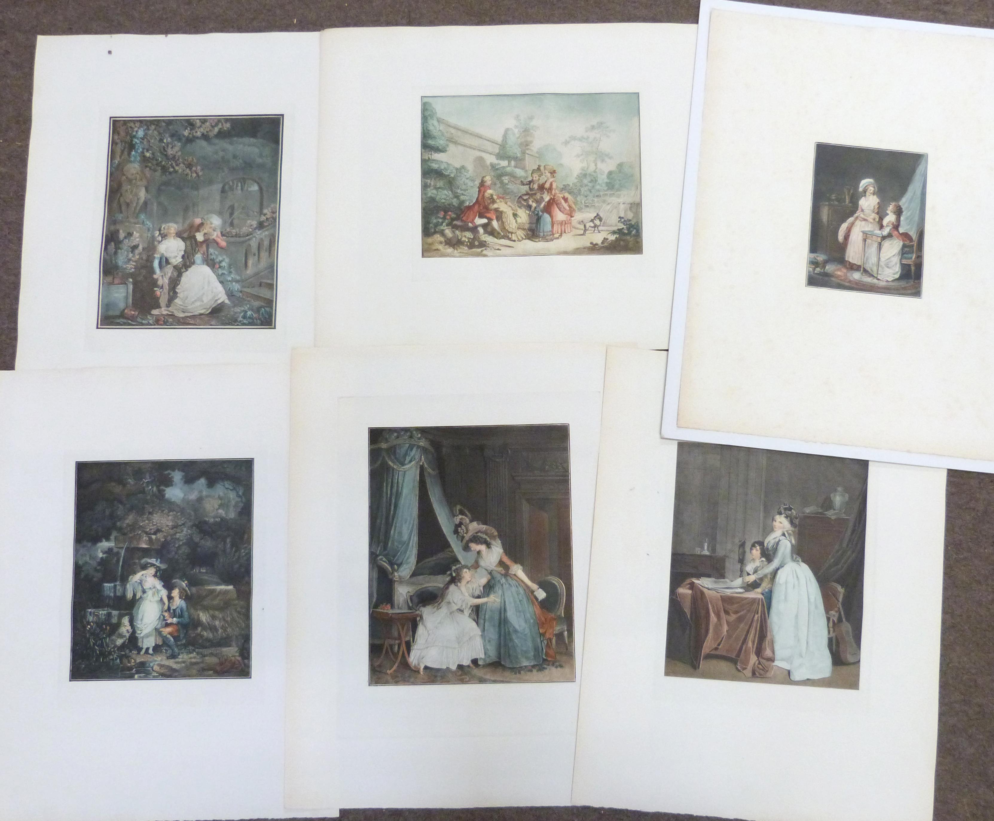 Elegant French engravings, unframed (12) - Image 2 of 2