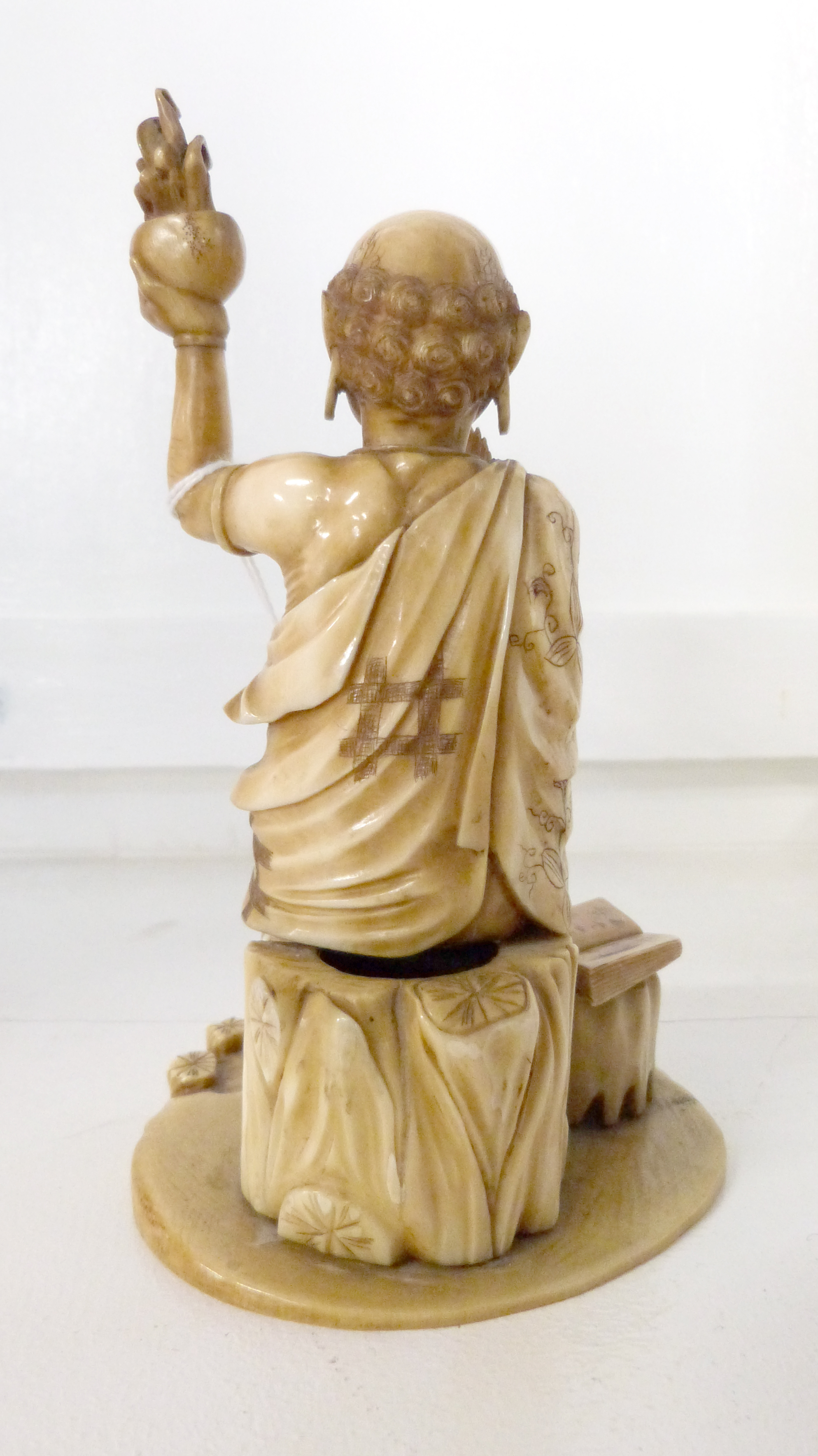 Ivory Okimono modelled as a priest, 15cm high - Image 2 of 3