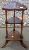 Small three tier stand with turned supports, height approx 62cm