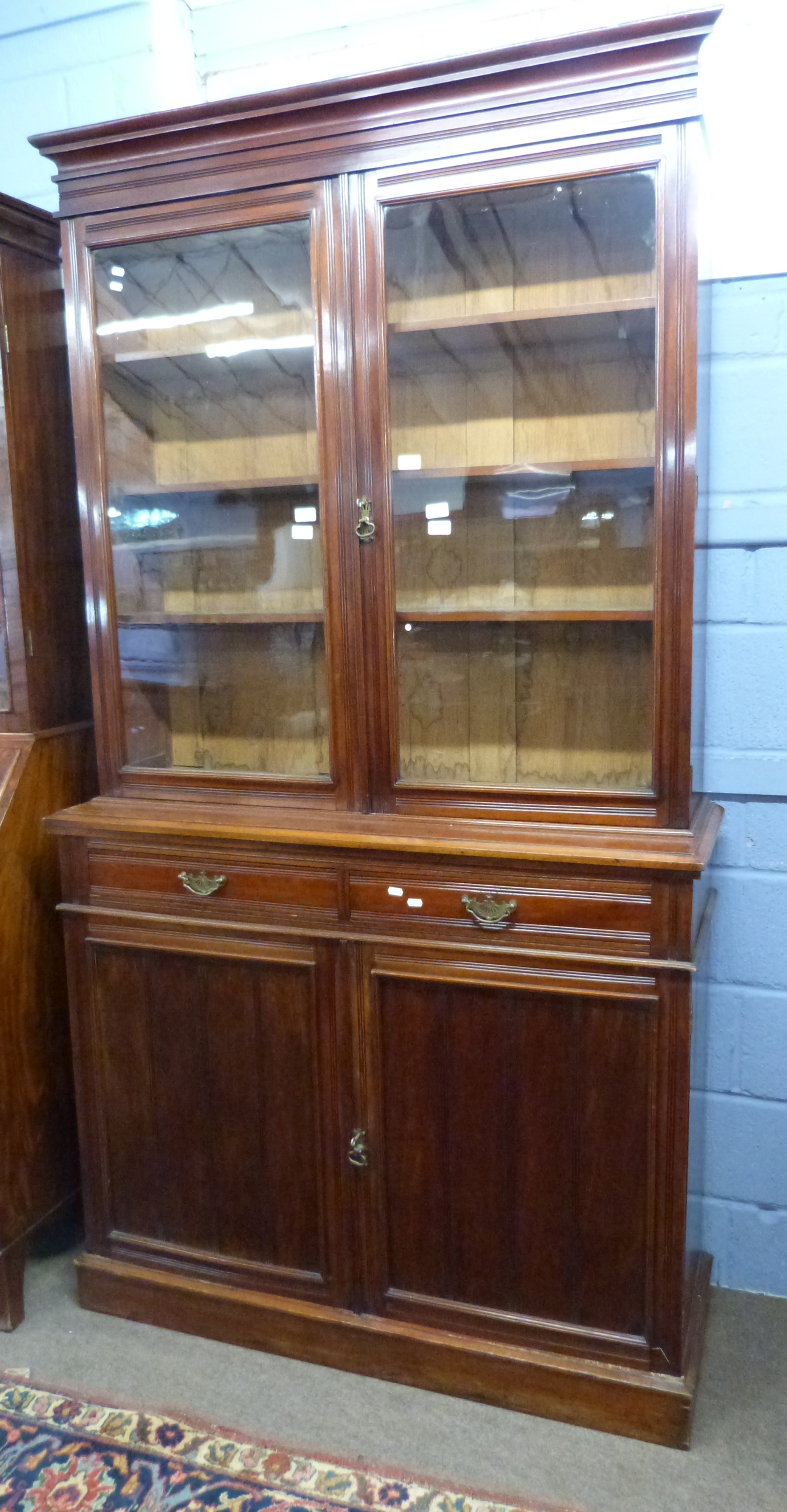 Full height mahogany side cabinet with glazed bookcase raised over double cupboard, width approx - Image 2 of 3