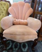 19th century mahogany framed shell back upholstered armchair
