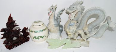 Miscellaneous lot of ceramics including two sculptures of dragons, a jadeite figure of a dragon,