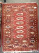 Caucasian prayer, Red ground with Blue medallions 3 x 2ft
