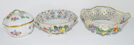 Three pieces of Continental porcelain, two small bowls decorated with flowers to interior and