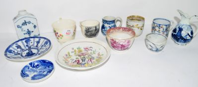 Quantity of 19th century ceramics including a tea canister decorated in Meissen style with blue