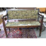 Early 20th century upholstered oak settle, length approx 120cm