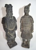 Two Chinese pottery figures, Han Dynasty type, of Chinese dignitaries on square bases with title