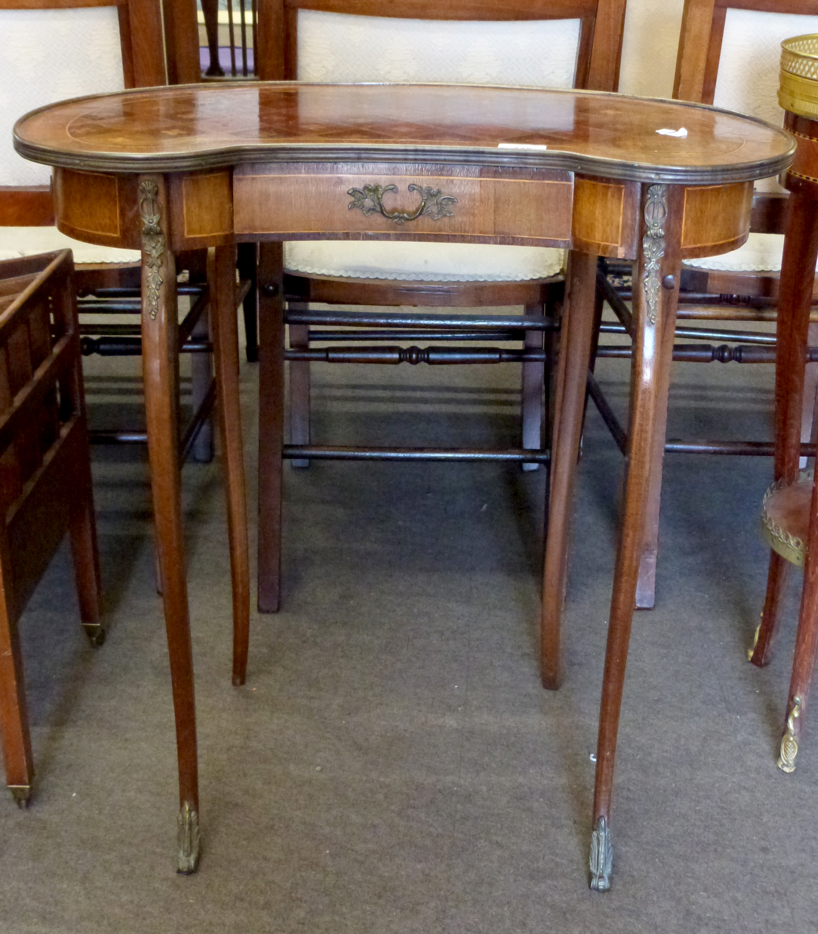 Small kidney shaped side table with drawer beneath and inlaid decoration, height approx 69cm - Image 2 of 3