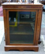 Early 20th century mahogany glazed bookcase with inlaid decoration, width approx 76cm