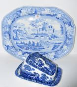 Large flow-blue semi china meat plate with a decoration of bridge and landscape, together with a