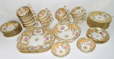 Quantity of 19th century English porcelain tea wares, pattern no 3445, some with retailer's stamp