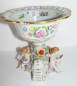 Continental porcelain centrepiece with bowl with floral design with cherubs below decorated as