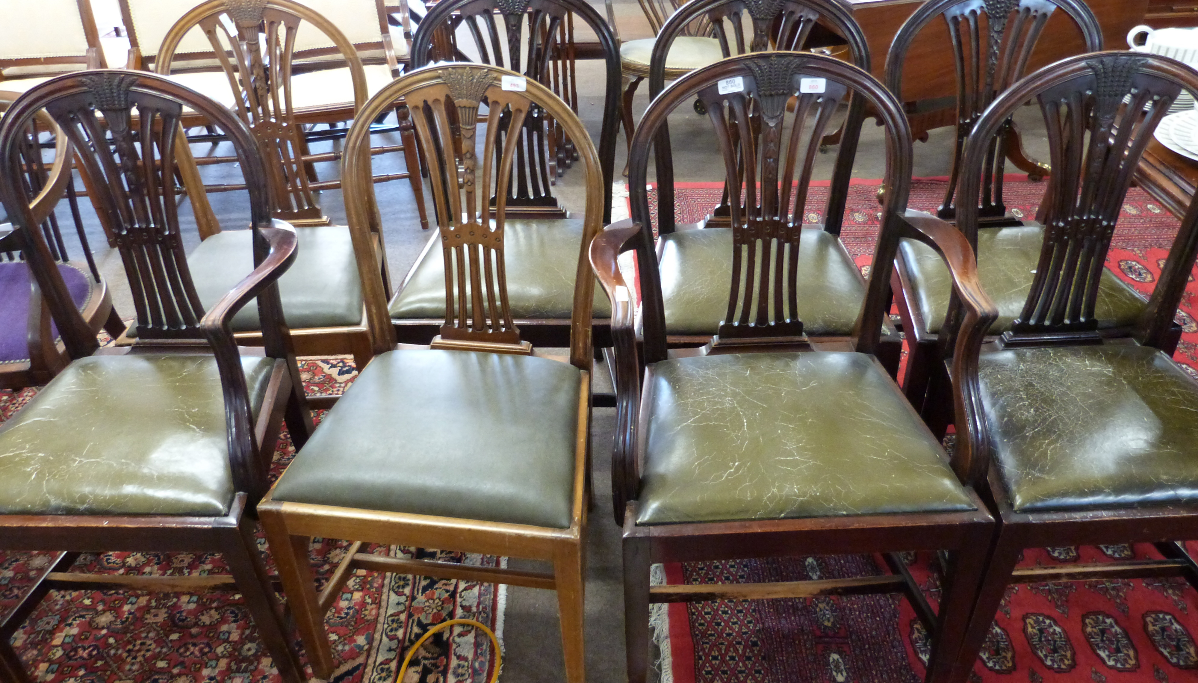 Set of eight (6+2) leather upholstered dining chairs with carved decoration - Image 2 of 3