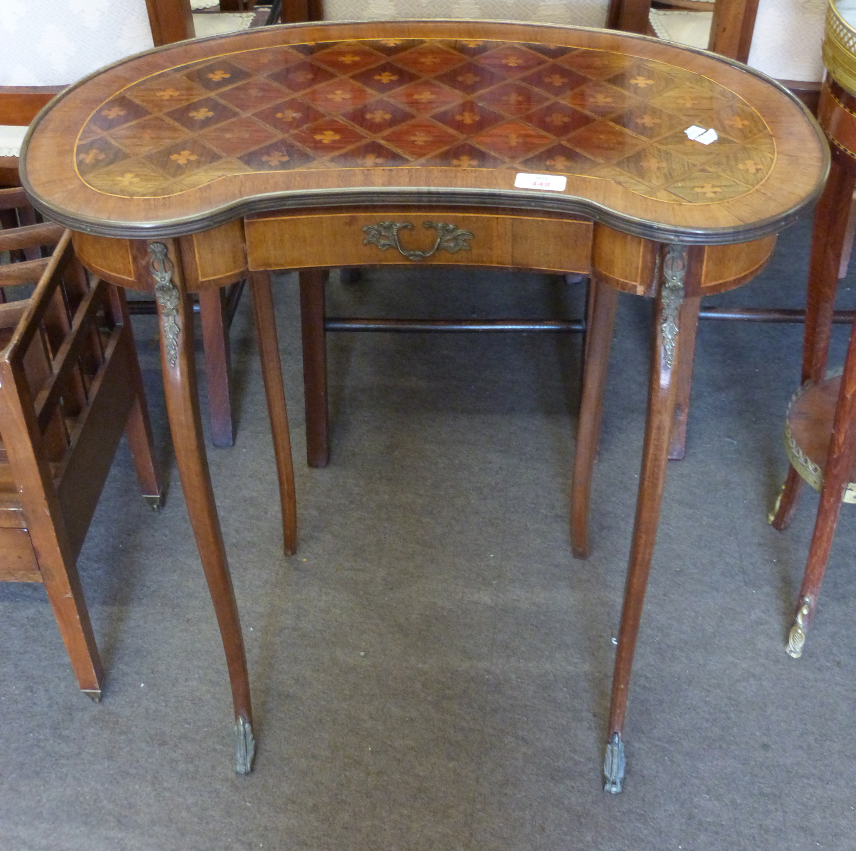 Small kidney shaped side table with drawer beneath and inlaid decoration, height approx 69cm