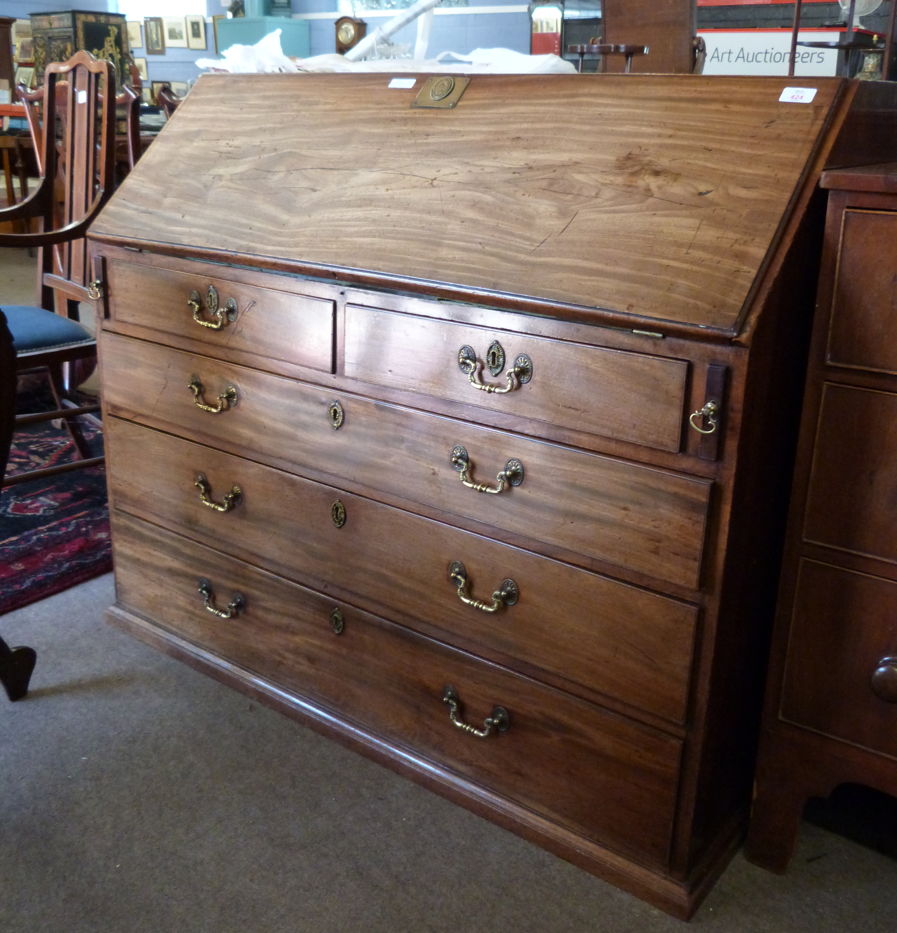 19th century fall front bureau with fitted interior, width approx 115cm - Image 2 of 4