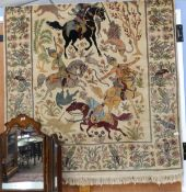 Large 20th century decorative tapestry depicting Oriental figures hunting wild animals, width approx