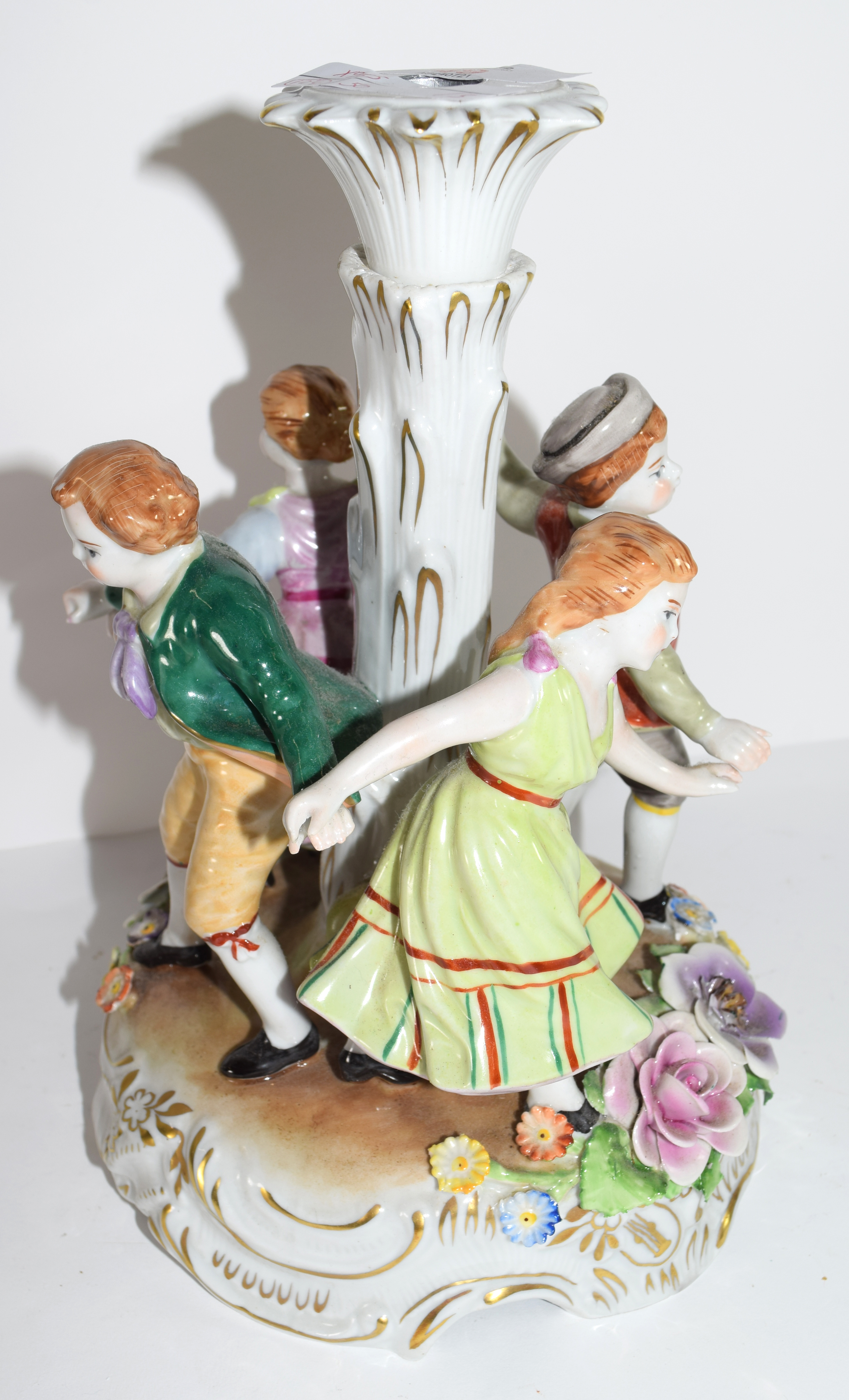Continental porcelain candlestick in Meissen style decorated with children dancing around a - Image 2 of 2