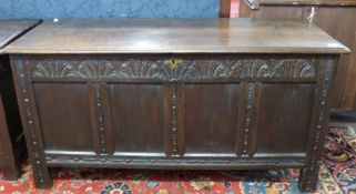 18th century carved oak coffer, length approx 134cm