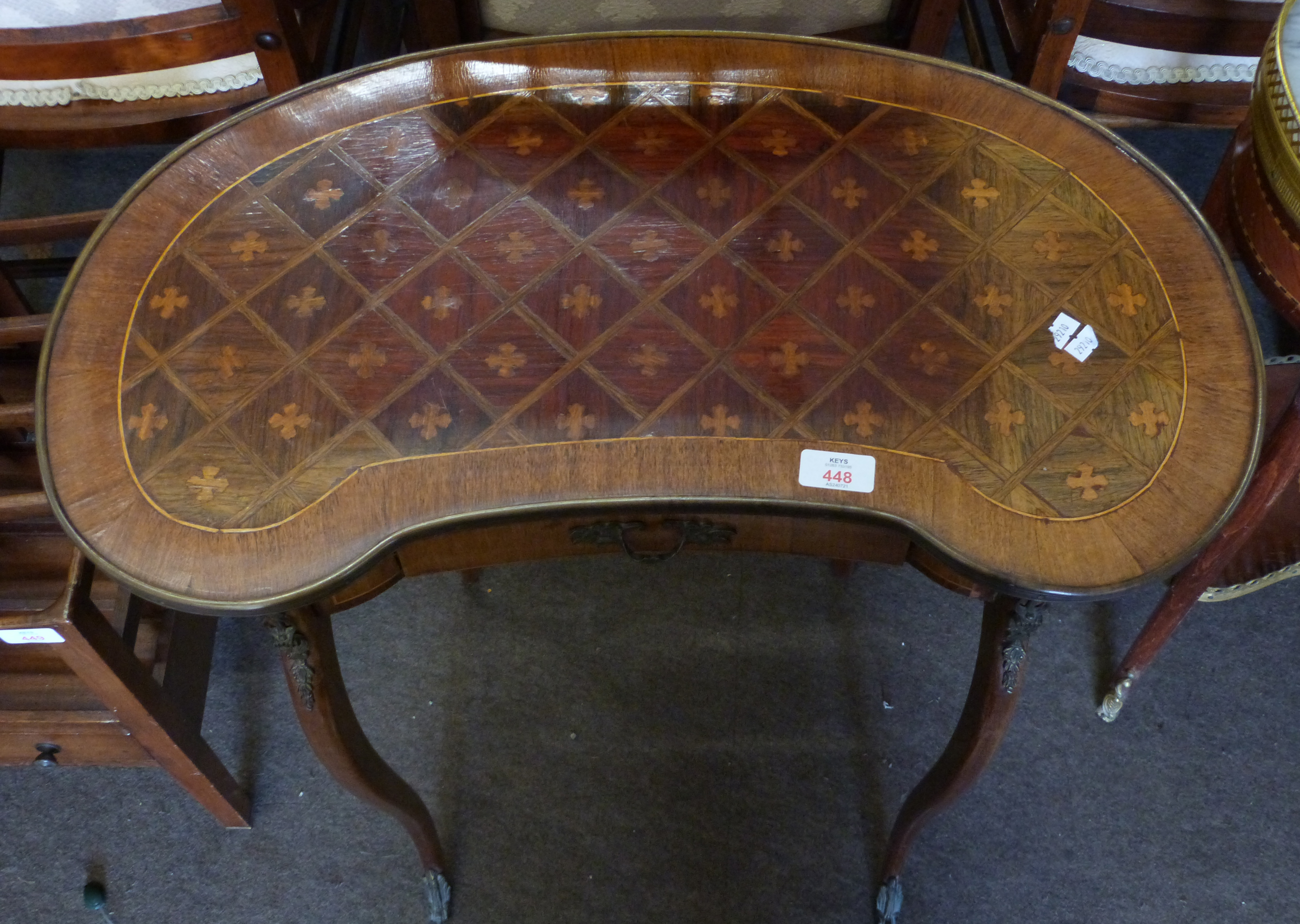 Small kidney shaped side table with drawer beneath and inlaid decoration, height approx 69cm - Image 3 of 3