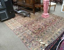 Vintage silk carpet, red and pink ground, single gulled border, medallion and floral design, 11 x