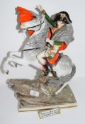 Large Continental porcelain figure of Napoleon astride a rearing horse, the figure on a