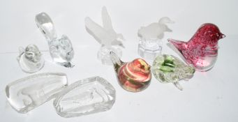 Quantity of paperweights modelled as birds and animals including a Goebel duck, a Baccarat squirrel,