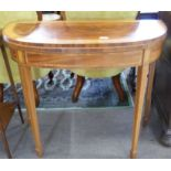 Fold-top card table with inlaid and cross banded decoration, width approx 91cm